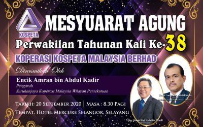 Mesyuarat Agung Perwakilan Koperasi KOSPETA Malaysia Berhad 2020